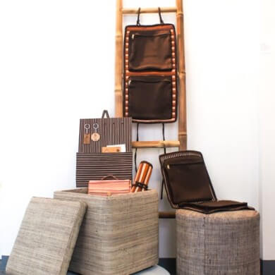 Raffia-wrapped storage stools and accessories
